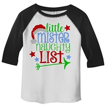 Shirts By Sarah Boy's Little Mister Naughty List Funny Christmas 3/4 Sleeve Baseball Raglan Shirt