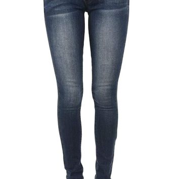 Kan Can Women's Mid Rise Skinny Jeans KC7085