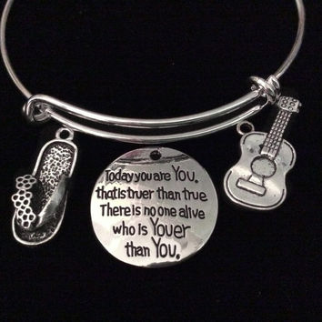 Guitar Flip Flop Expandable Charm Bracelet Silver Wire Bangle Graduate Gift Trendy Teenager Stacking