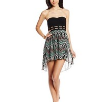 My Michelle Juniors Strapless High/Low Dress with Printed Skirt