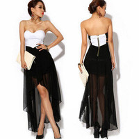 Sexy Womens Asymmetric Hem Strapless Chiffon Cocktail Party Evening Dress BK008