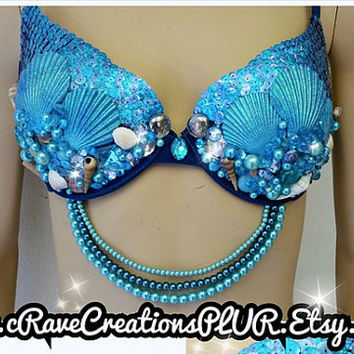 Sequin Mermaid Scale Pretty Plurmaid Bra Costume Rave Bra Outfit Pearls Shells Turquiose Customizable