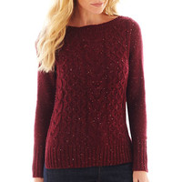 jcpenney | St. John's Bay® Long-Sleeve Boatneck Cable Sweater