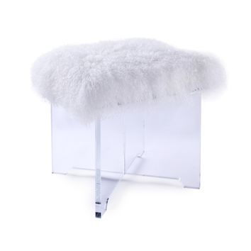 UnbeatableSale: Pasargad RE-PA001 Firenze Collection Mongolian Fur Ottoman - White | Rakuten.com