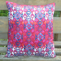 Pink Blue and Orange Throw Pillow