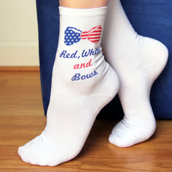 Custom Printed Bow Socks to Personalize With Your Text or Saying - Set of 3 Pairs of Socks