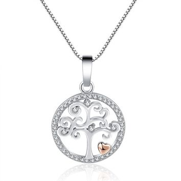Silver Tree of Life Rose Gold Love Heart Crystal Pendant Long Chain Necklace for Women Fashion Jewelry