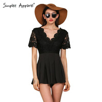 Simplee Apparel lace stitching high waist elegant rompers womens jumpsuit Sexy v neck backless overalls Black party playsuits