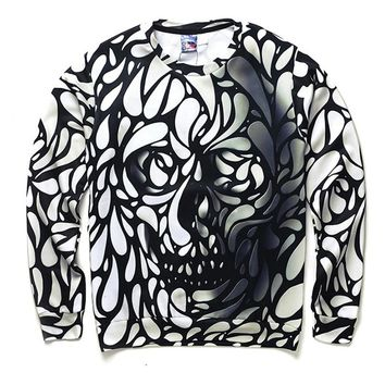 Skull Men Long Sleeve Sweatshirt Casual Pullover 3D Print