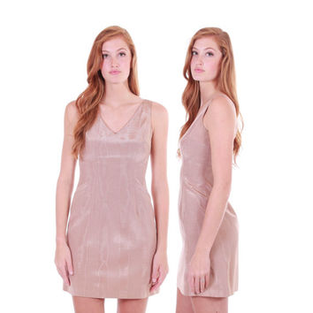 90s Vintage Cynthia Rowley Nude Beige Mini Dress Fitted Iridescent Shimmer Short Minimalist Chic Made in the USA Clothing Womens Size XS