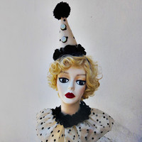Retro Clown Costume, Hat and Collar, Circus, Burlesque, Halloween Costume, 1930s, Polka Dot, Red, Black, Ivory White