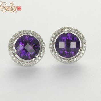 14KT White Gold 5.09ct Natural Amethyst & Diamond Earrings Jackets & Studs