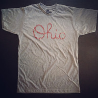 Scrip Ohio Tee. Ohio State Marching Band Spelling Ohio.  Football OSU Buckeyes Go bucks tshirt O H I O.  Heather Grey with Red