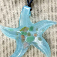 Mothers Day Necklace Star Fish Necklace Glass,Dichroic,Turquoise Ocean Blue,Seafoam Green, Gold,Copper Reversible Expandable Satin Cording