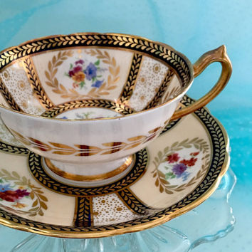 Glamorous Antique Paragon Hand Painted Signed Tea Cup and Saucer Antique Teacup Set/ Vintage Tea Cups High Tea Hollywood Regency