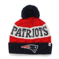 New England Patriots '47 Brand Women's Swanson Cuff w/Pom Knit Beanie – Red