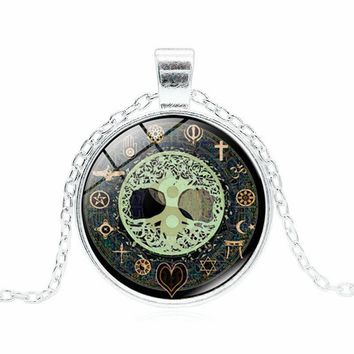 XUSHUI XJ Celtic Tree of Life Cabochon Glass Pendant Necklace Women Silver Jewelry Choker Necklace WOMEN 2017