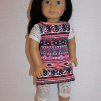 2 piece set! tribal print dress with mesh sleeves, off white mesh leggings , 18 inch doll clothes, American girl, Maplelea