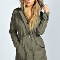 Kimmie Faux Fur Trim Hood Parka Jacket