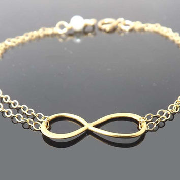 Infinity bracelet for friendship - Gold Filled