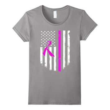 Breast Cancer Awareness American Flag T-Shirt Cool Top Tee