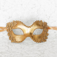 Metallic Gold Masquerade Mask With Rhinestones And Embroidery - Lace Applique Covered Venetian Style New Year's Ball Mask