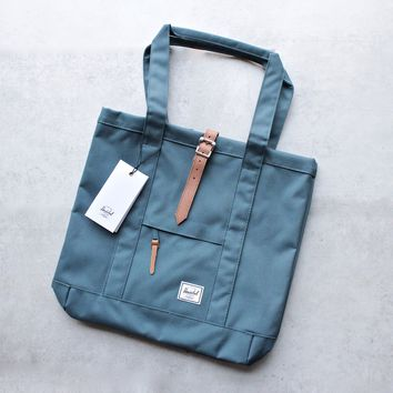 herschel supply co. - womens market tote -  Indian Teal/Tan Pebbled Leather
