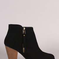 Qupid Woven Suede Zipper Trim Chunky Heeled Booties