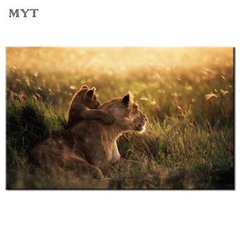 Hot Spray HD Print Abstract Animal Lion mother love Oil Painting on Canvas Modern Wall Art Picture for Room home Decor