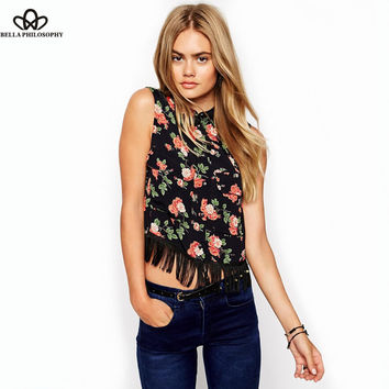 Sleeveless Floral Cropped Blouse With Fringing tassels black shirt red flowers print with chest pocket