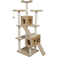"Goplus 73"" Cat Kitty Tree Tower Condo Furniture Scratch Post Pet Home Bed Beige"