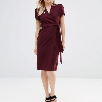 Alter Petite Wrap Tea Midi Dress at asos.com