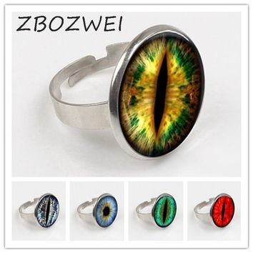 ZBOZWEI 2018 New Fashion Cat Eye Ring Handmade Jewelry Dragon Eye Art Glass Round Ring Men's Photo