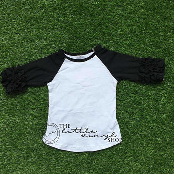 Ruffle Icing Raglan Baseball Tee Shirt - Black White - Blank Wholesale Embroidery HTV - In Stock