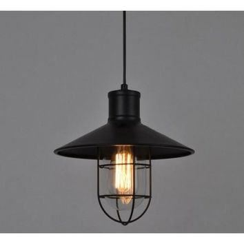 Industrial Caged Pendant Light - Bulb Included, Iron/Glass