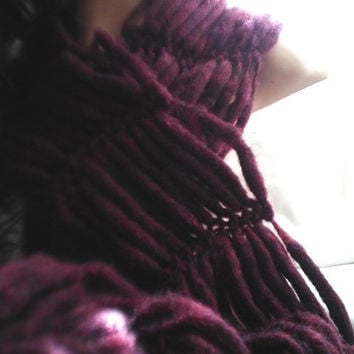 Burgundy Knit Scarf in Wool Blend READY TO SHIP