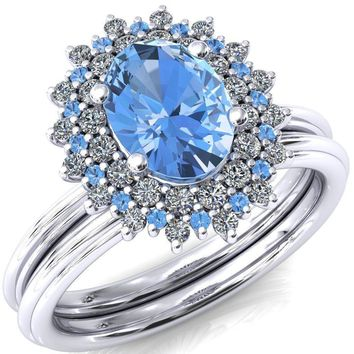 Eridanus Oval Lab-Created Aqua Blue Spinel Cluster Diamond and Aqua Blue Spinel Halo Wedding Ring ver.1