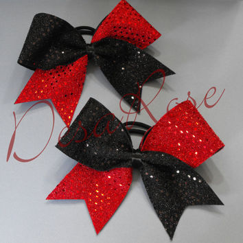 Cheer Bow Pigtail Set  Red & Black Sequins  by desarosebowtique