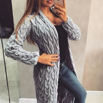 Grey Long Sleeve Acrylic Fashion Cardigan Sweater