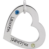 Posh Mommy® SMALL Personalized Engraved Heart Birthstone Pendant