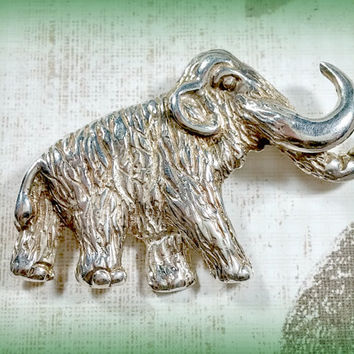 Vintage Elephant Wooly Mammoth Pin Brooch Taxco Mexico 925 TN-90 Sterling Silver Solid Piece Well Made Lots of Detail