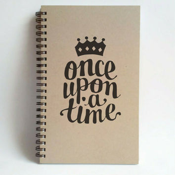 Once upon a time, 5X8 Journal, spiral notebook, wire bound diary, sketchbook, brown kraft notebook, white journal handmade, gift for writers