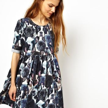 ASOS Smock Dress With French Bulldog Print