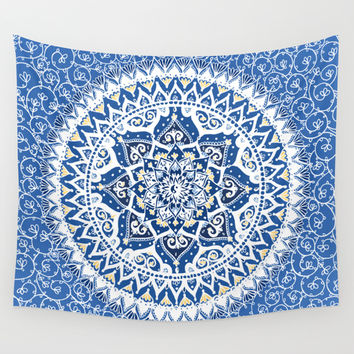 Yin Yang Mandala Pattern (Blue & Yellow) Wall Tapestry by Laurel Mae | Society6