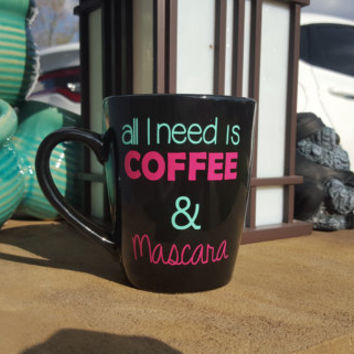 All I Need Is Coffee & Mascara Coffee Mug, Funny Coffee Mug, Coffee Mugs, Girly Coffee Mug