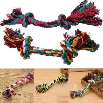 Hot Sale Multicolor Durable Braided Pet Bone Chew Rope Dog Puppy Train Toy Knot Home Garden Pet Supplies Funny Tool
