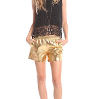 GOLD LEATHER SHORTS