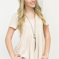 Simple Babydoll Top | Taupe