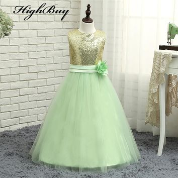 Gold Sequin Light Mint Tulle Flower Girls Dresses Baby Infant Toddler Kids Dress Juniors For Wedding Pageant Tulle Gowns