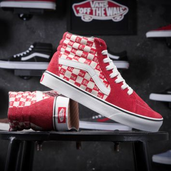 Supreme X Old Skool Vans Canvas Shoes Brand Women And Mens Supreme Logo Checkerboard Sneakers Skateboarding Shoes G-CSXY